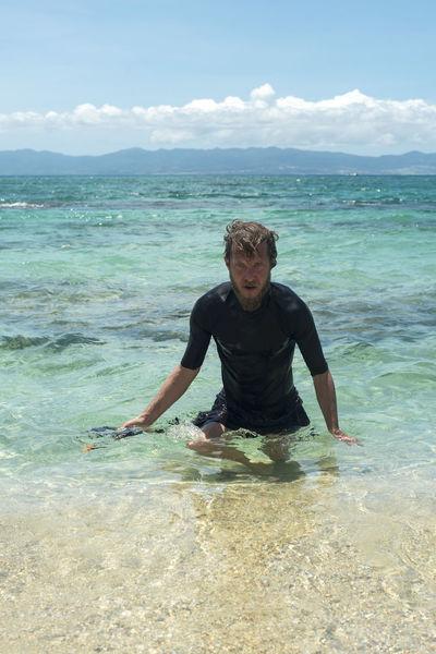 enjoying sea Blond Caribbean Caucasian Diving Enjoying Life Handsome Legs Man Mask Snorkeling Snow Sport Swim Shirt Swimming Tourquise Sea