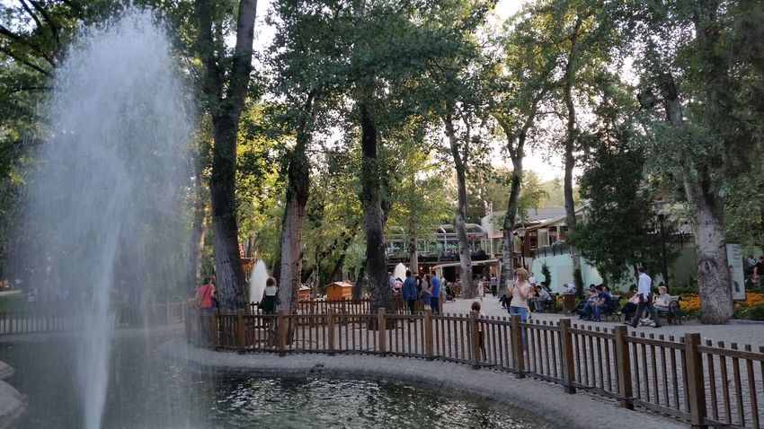 Weekend Summertime Weekend In The City Outdoor Park - Man Made Space Park Pond Trees Relaxing Afternoon Fountain