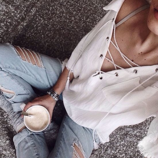 Selfieoftheday Self Portrait Cappuccino Ripped Jeans A Abo Skirt White Shirt Blue Jeans White Shirt Sitting One Person Lifestyles Close-up Human Leg Bed Coffee Coffee Break