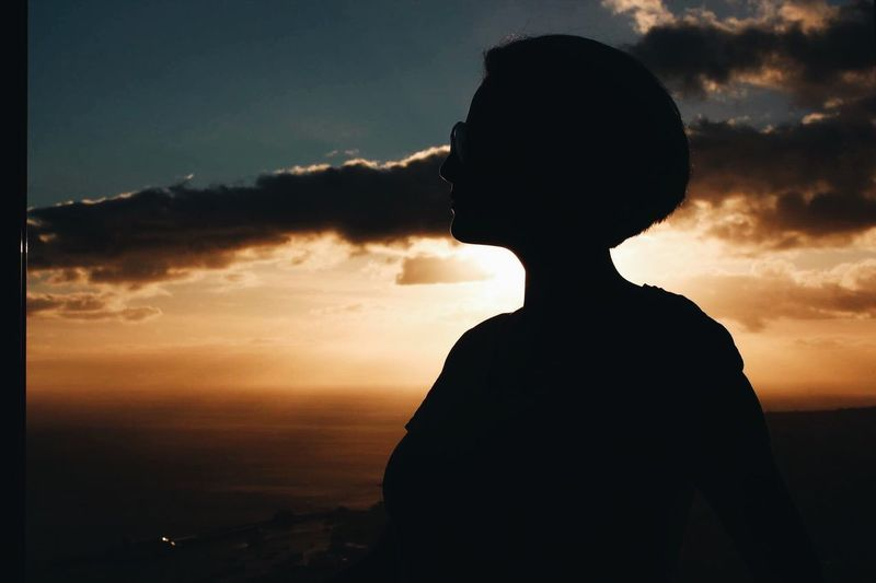 Silhouette Sunset Sky Cloud - Sky One Person Standing Nature Portrait Of A Woman Portrait