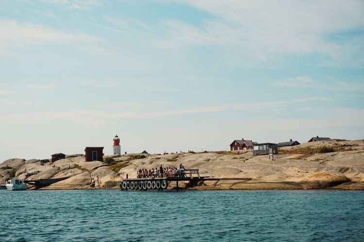 Hållö Hallo Smögen Summer Coast Coastal Feature Coastline Travel Ferry Water Lighthouse Sea Sky Architecture Shore Horizon Over Water Rocky Coastline Seascape Wave Rushing