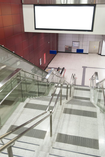High Angle View Of Staircase At Subway Station