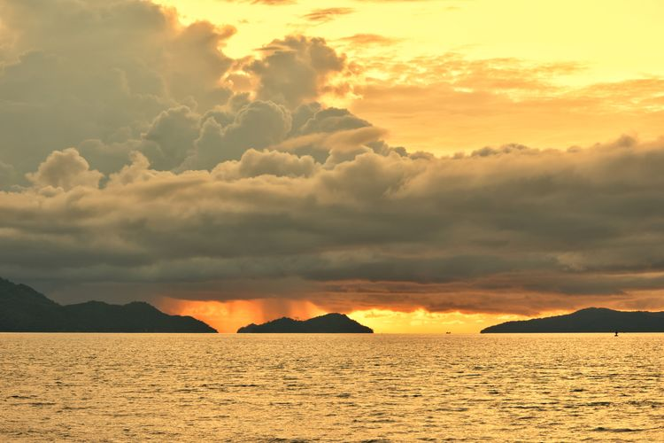 Mountain Sunset Sea Sunlight Sand Gold Colored Spirituality Yellow Summer Sky