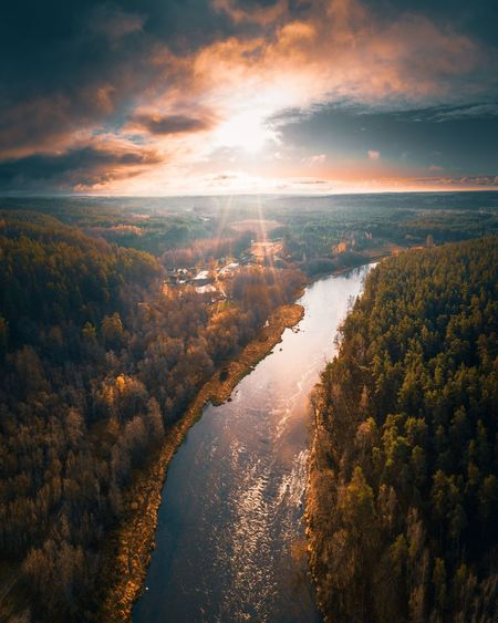 Scenic view of river in forest against sky during sunset