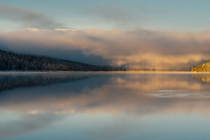 Winter sunrise at Donner Lake, California. California Donner Lake Truckee  Beauty In Nature Cloud - Sky Cold Temperature Day Fog Idyllic Lake Nature Outdoors Reflection Scenics Ski Sky Snow Sunrise Sunset Tranquil Scene Tranquility Tree Water Waterfront Winter