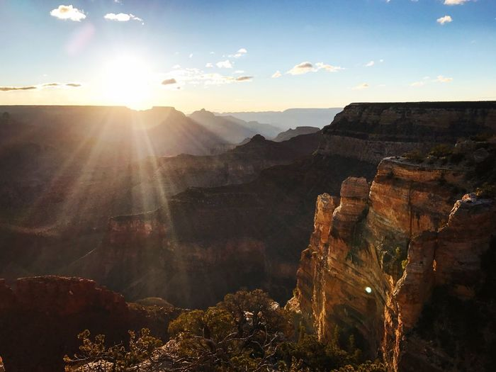 Grand Canyon at 5:30 in the morning. Sunrise Grand Canyon Sunlight Mountain Beauty In Nature Sky Sunbeam Scenics - Nature Sun Nature First Eyeem Photo