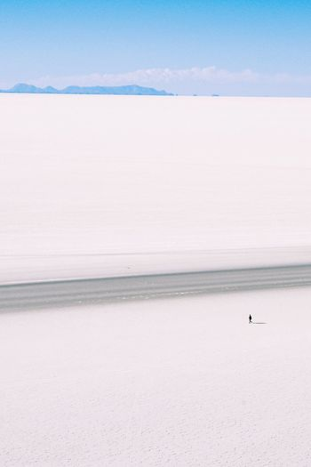 Wonder Dream Silhouette White Blue Surreal South America Perspectives On Nature Romantic Deserted Nature Bolivia Salt Flat Outdoors Remote Travel Destinations Desert Horizon Over Land Tranquil Scene Scenics Landscape One Person Tranquility Dreamy Moody