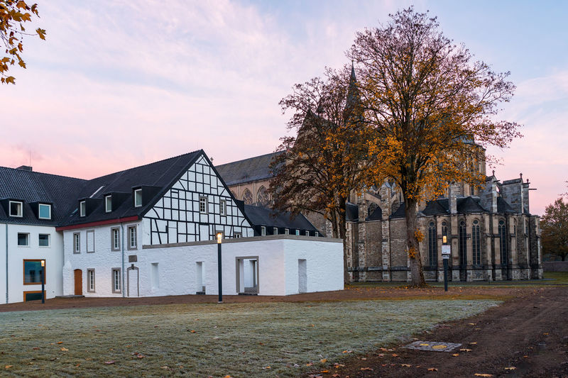 Altenberg Cathedral in autumn. Altenberg Cathedral Cathedral Autumn Altenberger Dom Altenberg Architecture Built Structure Building Exterior Building Sky Plant Tree Nature No People House Day Cloud - Sky Outdoors Residential District Grass Land Change Field Place Of Worship