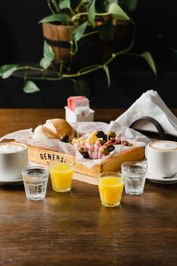 View of breakfast on table