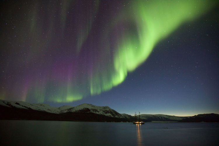 Scenic View Of Lake Against Sky During Aurora Borealis