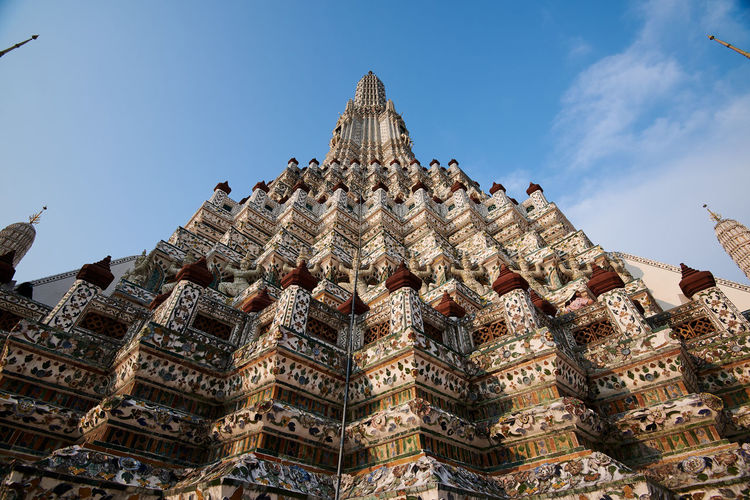 Wat Arun Temple Dawn Thailand Built Structure Sky Architecture Building Exterior Low Angle View Building Travel Destinations No People History The Past Nature Day Cloud - Sky Travel Tourism Place Of Worship Outdoors Religion Belief Ornate