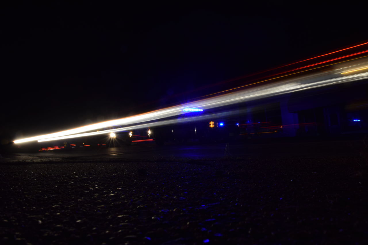 night, illuminated, motion, transportation, blurred motion, long exposure, light trail, speed, clear sky, outdoors, no people, sky