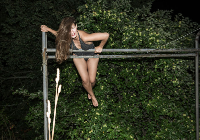 Obstacles Exercise Linas Was Here Woman Apple Tree Beauty Brunette Female Girl Gorgeous Legs Long Hair Model Summer Night