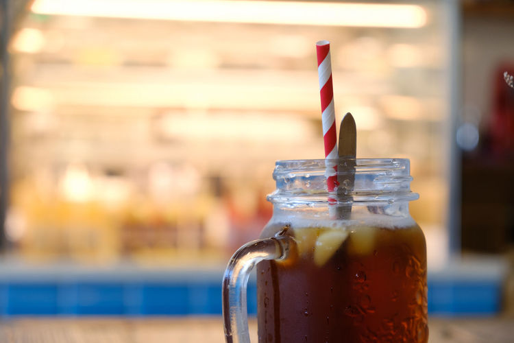 Tea Paper Straw FUJIFILM X-T2 Iced Tea Taiwan Tea Yilan, Taiwan Bottle Close-up Container Drink Drinking Straw Focus On Foreground Food And Drink Fujifilm Fujifilm_xseries Glass Glass - Material Jar No People Refreshment Still Life Straw Table Taiwan Style X-t2 台湾
