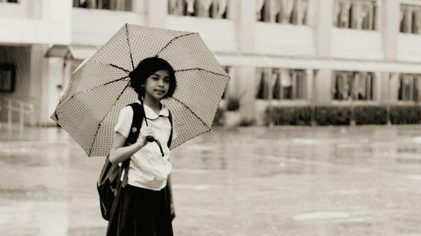 Child Happiness Outdoors One Person People Children Only Childhood Be. Ready. EyeEm Selects Umbrella Rain
