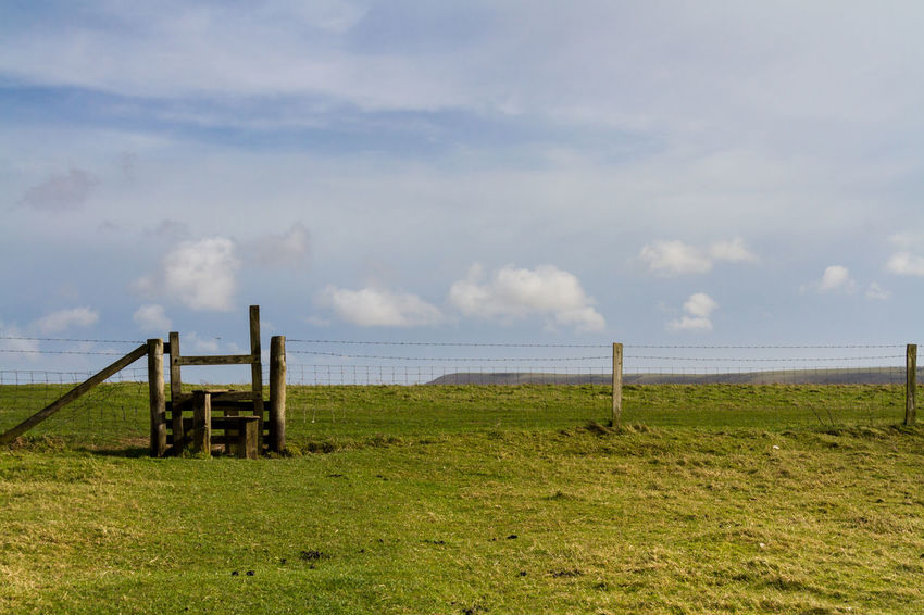 A Stile in the Countryside Agriculture Beauty In Nature Built Structure Cloud - Sky Countryside Day Farmland Hiking Horizontal Landscape Mount Caburn Nature No People Outdoor Outdoors Public Right Of Way Recreation  Scenics Sky South Downs Stile Tranquil Scene Tranquility Walking