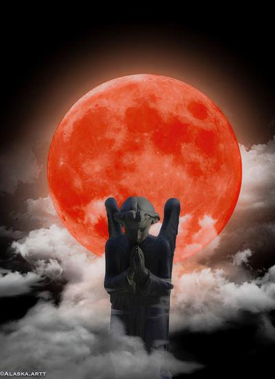 Digital composite image of statue against sky