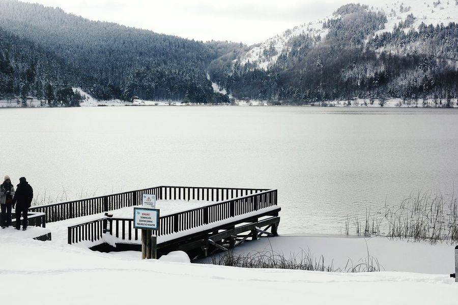 Lake and snow Lake Mountain Snow No People Beauty In Nature Extreme Weather Day Snowing Tree Nature Outdoors
