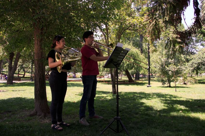 TakeoverMusic Studing The Class For The Concert Trombone Tuba At The Park Young Men Young Woman Outdoors Nature In The Shadow Music Green Color Trees With Silence Wind Sounds Under The Tree Concentration Musician Playing Classic Music With Passion