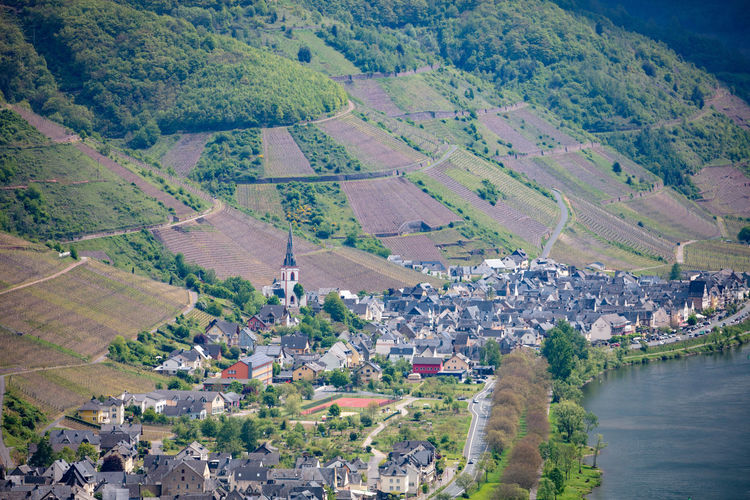 High angle view to Ediger-Eller at Mosel valley, Rheinland-Pfalz, Germany, May 2019 Germany Mosel Architecture Aerial View Environment Landscape Built Structure Building Building Exterior City Nature Scenics - Nature Water Tree Plant Transportation Land Patchwork Landscape Residential District High Angle View Rural Scene Agriculture Outdoors No People Cityscape Ediger-eller Church
