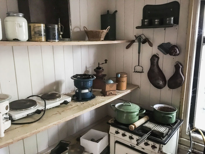 Houseboat Indoors  Kitchen Kitchen Counter Kitchen Utensil Kitchen Utensils Large Group Of Objects Messy Place Of Work Run-down Stove Terherne, Netherlands