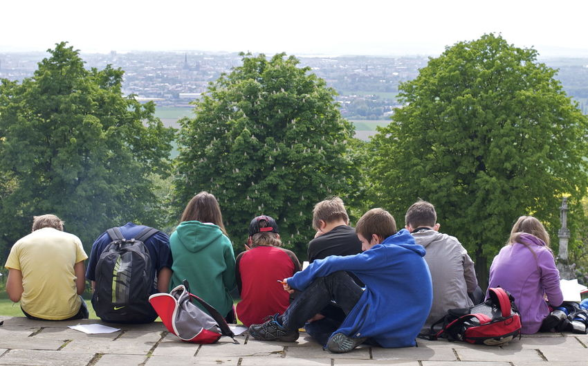 Backpacks Group Headless Lookout Occupied Outlook Schoolbag Smoke Smoker Sneakers Students View View From Above Young Adult Youth Youth Of Today The Tourist