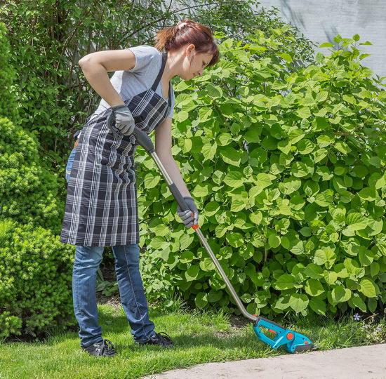 Woman standing by plants in yard