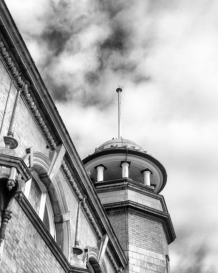 A photo of a historic building in Warrington. The photo is in black and white. Building Exterior Architecture Built Structure Sky Low Angle View Cloud - Sky Day Outdoors No People City Sculpture Clouds Blue Sky Sky_collection Skyporn Sky And Clouds History Clouds And Sky Historic Historical Building Blackandwhite Blackandwhite Photography Blackandwhitephotography Warrington Historical