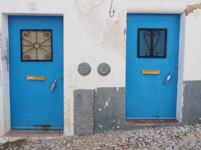 Portuguese Doors Portugal EyeEm Selects Wall - Building Feature Architecture Built Structure Blue No People Door Entrance Building Exterior Closed Number Building Old