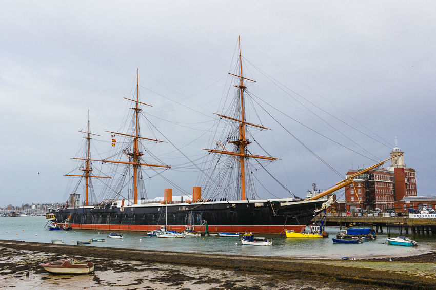 HMS Warrior Portsmouth Historic Dockyard Architecture Built Structure Day Harbor Mast Mode Of Transportation Moored Nature Nautical Vessel No People Outdoors Pole Port Sailboat Sailing Ship Sea Ship Sky Transportation Travel Water