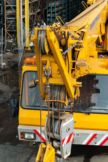 High angle view of construction vehicle