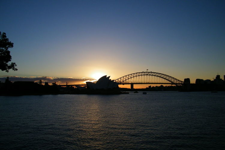 Architecture Bridge Clear Sky Silhouette Sunset Sydney Harbour Bridge Sydney Opera House Travel Destinations Waterfront