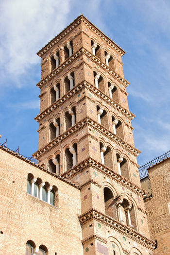 Built Structure Architecture Building Exterior Low Angle View Sky Building The Past History Window Day Nature Tower Belief Place Of Worship Religion Cloud - Sky No People Outdoors Spirituality Italy Celio Medieval Tower Bell