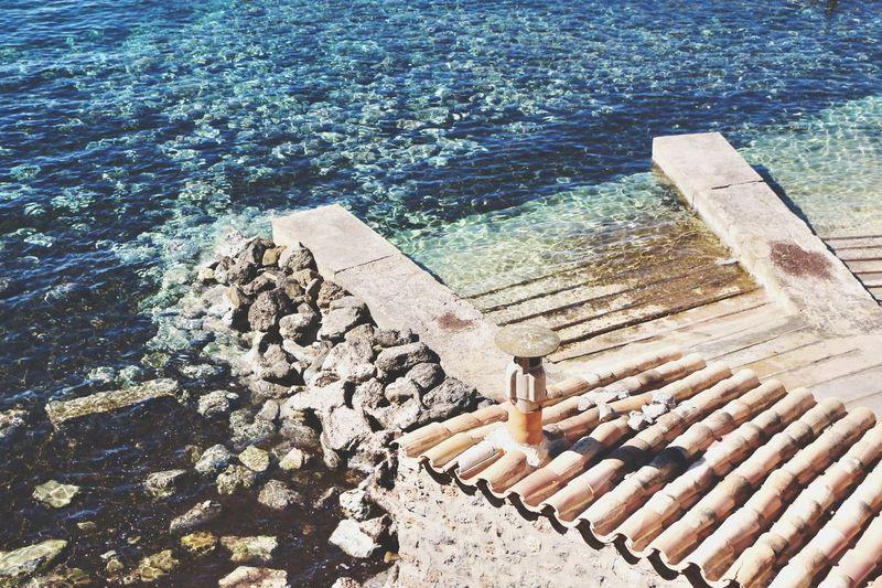 High angle view of wood on beach