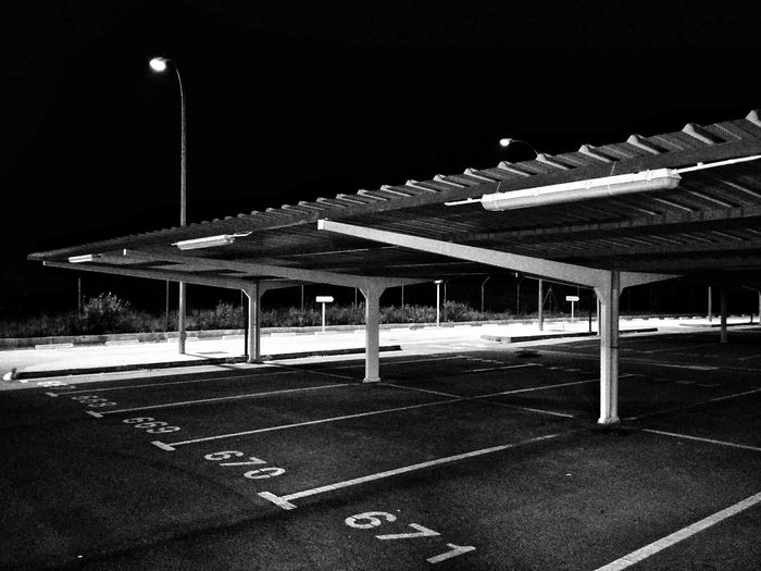 Black And White Car Park Empty Places At Night
