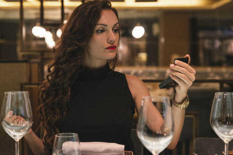 Glass Young Adult Indoors  Women Beautiful Woman Hairstyle Adult Alcohol Alone Attractive Beautiful Beauty Date Dinner Dress Eating Elegant Fashion Female Food Girl Hotel Interior Lady Lifestyle Copy Space Luxury People person Portrait Restaurant Romantic Sexywomen Sitting Smile Table Trendy Brunette Young Women Waiting