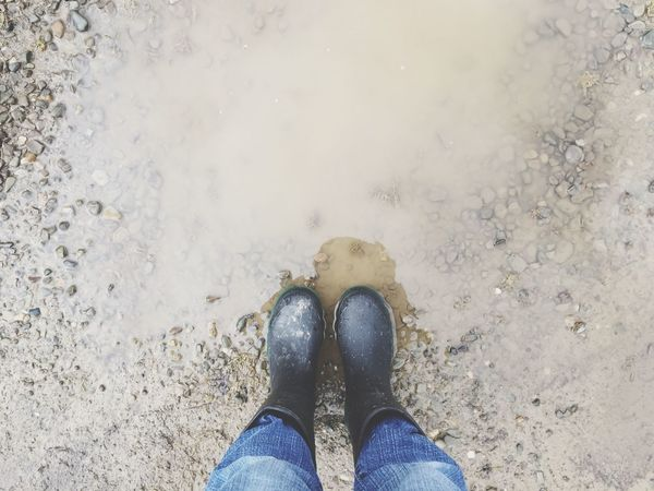 Blue Jeans Rubber Boots Boots N Jeans Gal💝 Outdoors Spring Day Mud Puddle