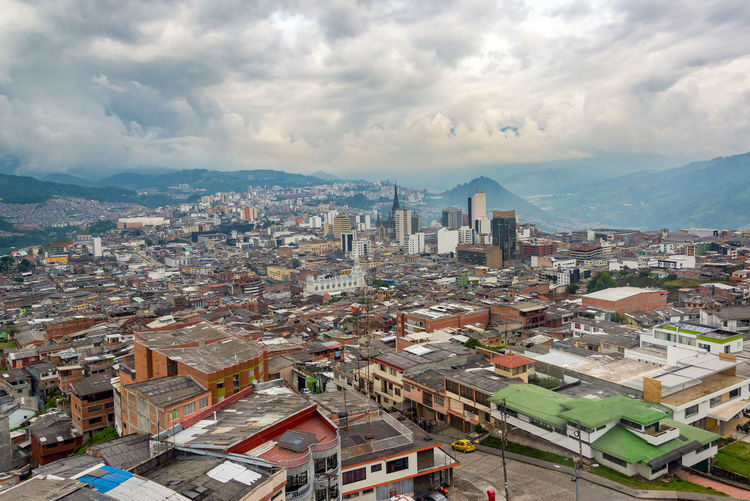 Cityscape view of downtown Manizales, Colombia on an overcast day Architecture Cathedral Church Cityscape Cloudy Colombia Downtown Green Manizales Skyline Travel Building Exterior Built Structure Caldas Churches Cloud - Sky Coffee Triangle Eje Cafetero Overcast Sky South America Tourism Travel Destinations Urban