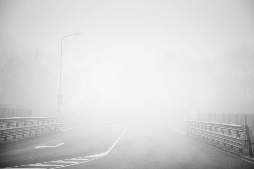 EyeEm Best Shots Transportation Road No People Fog Mode Of Transportation Street Nature Direction The Way Forward Sky City Outdoors Sign Car Day Travel Motor Vehicle Copy Space