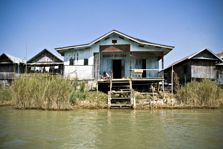 Architecture Building Exterior Built Structure Burma Check This Out Clear Sky Day Hanging Out Inle Inle Lake Inle Lake, Shan State Living On Water Myanmar Nature No People Outdoors Pilotis Sky Tranquility Travel Destinations Traveling Travelingram Water Waterfront