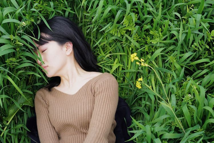 Spring Springtime Weekend Activities Relaxing Sleeping Lying Down Beauty In Nature Eyes Closed  One Person Green Color Young Women Field Grass Beauty Beautiful Woman Nature California Dreamin