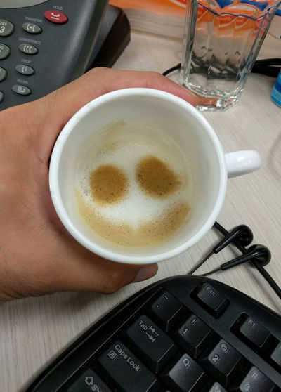 Mobilephotography Smile Chill At Work Coffee Capuccino Smiley Random Hidden Faces