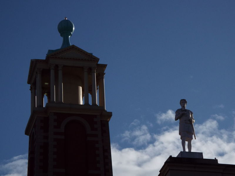 Retail  Shopping Centre Blue Sky And Clouds Blue Sky And White Clouds Blue Sky White Clouds Blue Sky Barton Square Tower Statue Silhouette