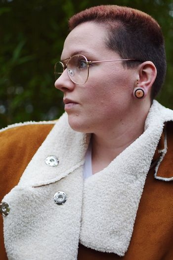 Some expressive glasses. Confidence  Portrait Of A Woman Express Yourself Short Hair Plus Size Model Fashion Lifestyles Fashion Photography Young Adult Young Women One Person Outdoors Real People Lifestyles Eyeglasses  Beautiful Woman Close-up Love Yourself This Is Queer
