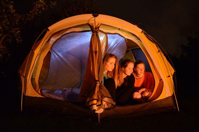 Camping Camping Out Firelight Gazing Girls Nighttime Tent