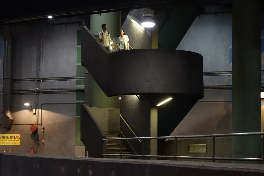 Bus Stop Concrete Hall Staircase People Public Transportation Illuminated Electric Light