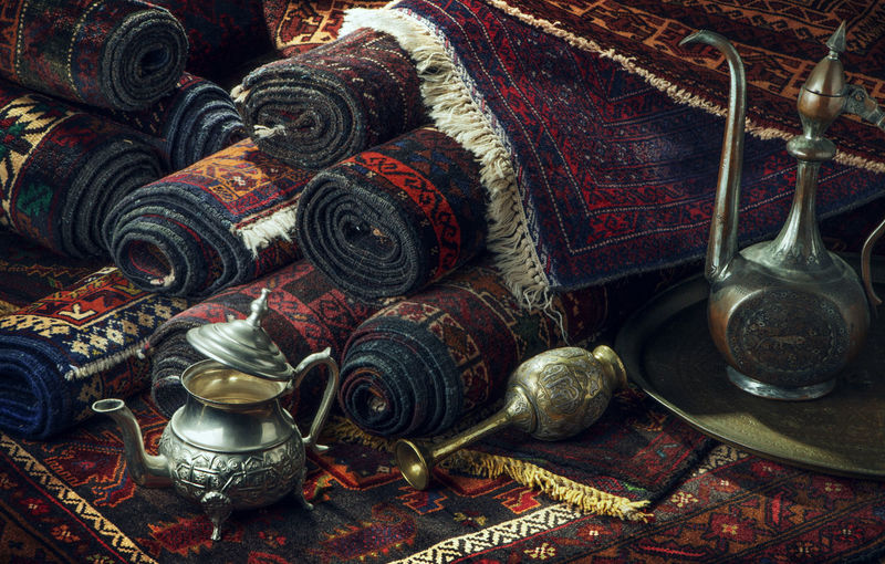 1000 Nights Persian Carpets Silk Road Arab Market Carpets Close-up Day Indoors  Islamic Theme No People One Thousand Nights Persia Nights Persian Artisan Perssian Carpets Silk