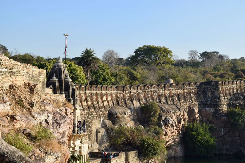 Wide angle view of Water reservoir at chittaurgarh fort Architecture Chittorgarh Fort City Day History Military No People Outdoors Reservoir Sky Travel Destinations Tree War Water