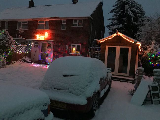 Winter Snow Cold Temperature House Building Exterior Architecture Weather Illuminated