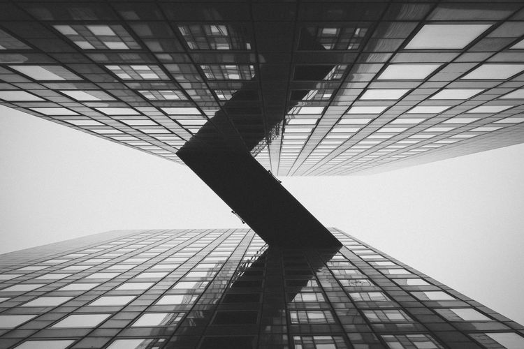 Architecture Architecturephotography Blackandwhite Building Building Exterior Glass - Material La Défense Low Angle View Monochrome Nikkor AF 24mm F2.8 Nikon D750 Reflection Tour Pascal Pattern Pieces The Architect - 2016 EyeEm Awards
